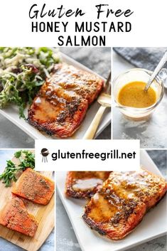 Simple, flavorful and healthy salmon the whole family will love! Less than 20 minutes until you have this delicious Honey Mustard Salmon on the table! Healthy Grilling Recipes, Grill Recipes, Heart Healthy Recipes, Mustard Bbq Sauce, Honey Mustard Salmon, Gluten Free Recipes For Dinner, Dinner Recipes, Grilled Carrots, Apple Slaw