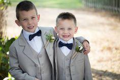 Ring Bearer; Bowties; Khaki Suits; Southern Wedding; Oak Level Farm