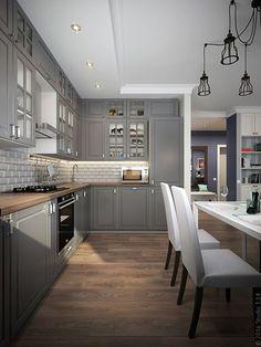 25 Inspiring Grey Kitchen Design Ideas Modern Kitchen Cabinets Design Grey Ideas… – White N Black Kitchen Cabinets Grey Kitchen Cabinets, Kitchen Cabinet Colors, Kitchen Colors, Kitchen Grey, Brown Cabinets, Kitchen Modern, Vintage Kitchen, Kitchen Interior, New Kitchen