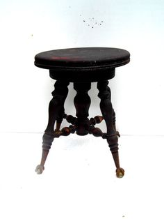 Antique Piano Stool Stool with Claw Feet Stool by PaperWoodVintage