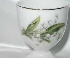 Dainty Egg Cup with White Bluebell Flowers