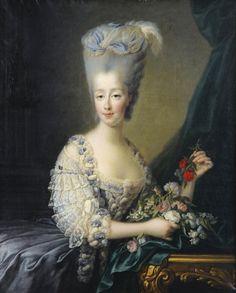 A portrait of the comtese d'Artois by François-Hubert Drouais. 18th century. [source: Sotheby's]
