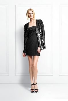 Bailey Sequin Cardigan.  Emma Strapless Wrap Dress.  Bonnie Platform