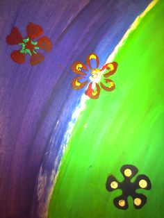 Bright flowered art piece