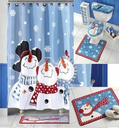 New Bath Set Snowman Fabric Shower Curtain Christmas Holiday Frosty Bathroom