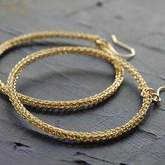 HOOP earrings : Extra large closed circle gold hoop earrings - crochet