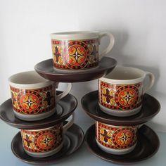 Retro tea set retro coffee cup set of retro mugs Coffee Cup Set, Retro Design, Tea Set, Cup And Saucer, Etsy Store, Tea Cups, Coffee Lovers, Mugs, Tableware