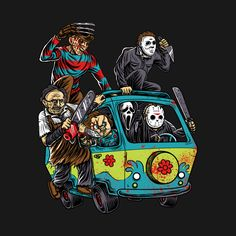 Horror T-Shirt by NibiruHybrid. The Massacre Machine shows horror icons like Freddy Krueger and Jason Voorhees on the Mystery Machine from Scooby Doo. Arte Horror, Scooby Doo, Horror Artwork, Horror Movie Characters, Horror Movie Tattoos, Funny Horror, Horror Icons, Horror Posters, Monster Party