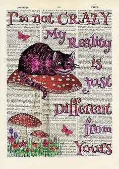 Set of 4 Alice in Wonderland Antique Book page Art Prints A4-Nursery -Set 1 Pink