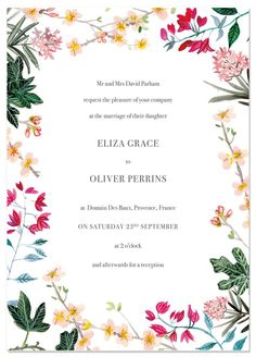 MEDITERRANEAN WEDDING INVITATION | By Hollyhock Lane Warm pinks, peach, yellow and green foliage surround this stylish and classic wedding invite. Perfect for a Tuscany or Provence destination wedding. Hand painted watercolour flowers include oleanders, fig, almond blossom and bougainvillea creating a beautiful summer botanical feel. Comes with matching RSVP, custom map and info card as well as 'on the day' stationery. #fineartwedding #weddinginvitation #destinationwedding
