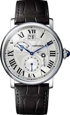 Rotonde de Cartier Watch, Large Date, Retrograde Second Time Zone and Day/Night Indicator 42 mm, steel, leather $9,300