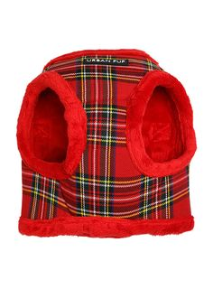 Luxury Fur Lined Red Tartan Harness | Patterned Dog Harnesses at Urban Pup
