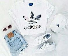 adidas, outfit and white image – – - school outfits Teenage Outfits, Teen Fashion Outfits, Mode Outfits, School Outfits, Fashion Ideas, School Shoes, Fashion Trends, Cheap Fashion, Summer Outfits 2018 Teen