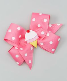 Loving this Picture Perfect Hair Bows Pink Ice Cream Bow Clip on #zulily! #zulilyfinds