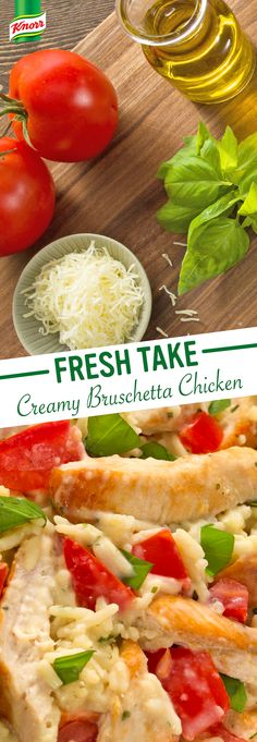 Knorr's Creamy Bruschetta Chicken recipe is a family favorite! Heat oil, cook chicken in a large skillet, & add garlic. Prepare Knorr® Rice Sides™ - Creamy Chicken flavor according to package directions. Sprinkle with mozzarella cheese & basil. I Love Food, Good Food, Yummy Food, Tasty, Bruschetta Chicken, Cooking Recipes, Healthy Recipes, Comfort Food, Creamy Chicken