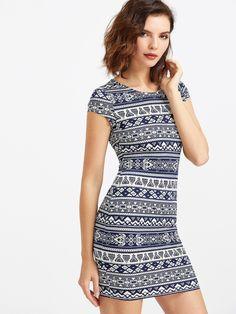 Aztec Print Form Fitting Dress