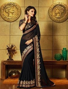 Black Georgette party wear designer saree Product Code: G3-WSA6145 Price: ₹ 6,295.00