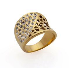 Product details A FUSION OF ARABESQUE MESH WITH CRYSTALS Let the Fishman's Net cast its beauty across your finger with its impressive style. I created this beautifully curved ring by combining 316 marine grade stainless steel with plating made from 18K gold and titanium.