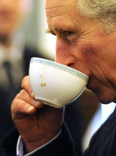Prince Charles sipping on a cuppa.
