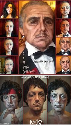 The artist who transforms herself into movie characters (Italy)