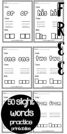 number sight words practice printables for preschool and kindergarten. Color, trace and write the sight words. Sight Word Practice, Sight Word Games, Writing Practice, Sight Words, Sight Word Worksheets, Kindergarten Worksheets, Word Board, 50 Words, Short Vowels