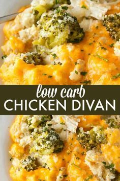 Low Carb Chicken Divan - This comforting casserole has a creamy sauce made with . Low Carb Chicken Divan - This comforting casserole has a creamy sauce made with chicken, broccoli, cheddar cheese and cauliflower rice. You won& even miss the extra carbs. Poulet Keto, Low Carb Chicken Recipes, Low Carb Chicken And Broccoli, Low Carb Crockpot Recipes, Low Carb Crockpot Chicken, Lunch Recipes, Primal Recipes, Broccoli Chicken Divan, Chicken Recipes For Diabetics