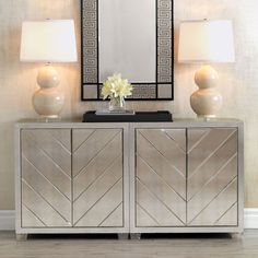 Materials: Wood/Lucite/Mirror The Delray cabinet is finished in hand applied silver leaf with antiqued patina beveled cut mirror door panels. The doors are opened by touch closure hardware. The cabinet has lucite feet. Interior is finished in silver, Luxury Home Furniture, Furniture Decor, Living Room Furniture, Modern Furniture, Mirror Furniture, Rustic Furniture, Antique Furniture, Elegant Home Decor, Elegant Homes