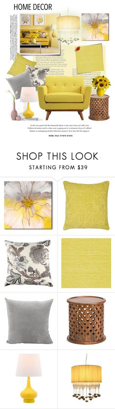 """""""Get The Yellow Look Decor"""" by leanne-mcclean ❤ liked on Polyvore featuring Post-It, Ready2hangart, Matthew Williamson, Zoffany, Marrakech, Safavieh and Lamp International"""