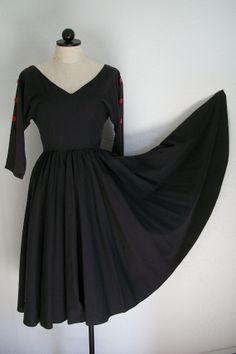 "Fabulous . . . Mindy Malone Vintage Black Housewife Dress 222"" Circle Skirt Full Sweep Hemline, $45.00"