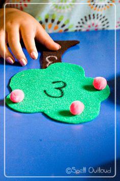 Apple Tree Number Match - Spell Out Loud Preschool Apple Theme, Apple Activities, Fall Preschool, Preschool Themes, Autumn Activities, Kindergarten Activities, Preschool Activities, Preschool Education, Preschool Classroom
