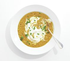 Barley & Lentil Soup - Chopped ginger, curry powder, and coconut milk give this soup an Indian spin. // Real Simple