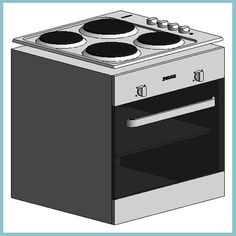 Zanussi ZOB140X Conventional Oven with Hob (Autodesk Revit Architecture 2012 Families) - urBIM Revit Components