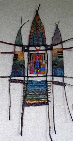 I did a piece much like this one many years ago. The twigs are so organic, the fiber colors & manipulation options are endless. Art Fibres Textiles, Textile Fiber Art, Weaving Textiles, Weaving Art, Tapestry Weaving, Loom Weaving, Weaving Projects, Art Projects, Sculpture Textile