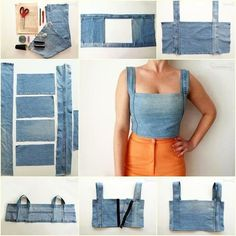 DIY Sexy Crop Top from Old Jeans -more ideas(icamama) reciclar Ways and Ideas to Refashion T-shirt into Chic Top Thinking of altering the denim crop top pattern to make it a military-style crop, but all in all this is such a cute pattern t Denim Crop Top, Crop Tops, Cropped Jeans, Fashion Sewing, Denim Fashion, Fashion Outfits, Work Fashion, Unique Fashion, Trendy Fashion