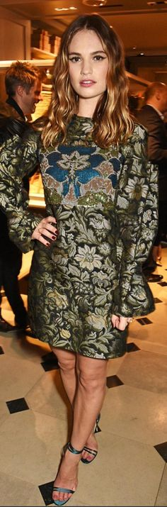 Lily James wearing Burberry