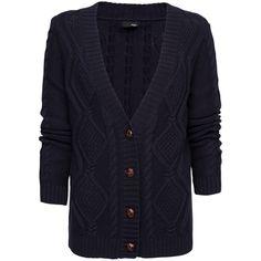 Cable Knit Cotton Cardigan via Polyvore