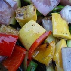 """Grilled Vegetable Salad   """"A savory side dish of grilled vegetables lightly dressed in a classic vinaigrette."""""""