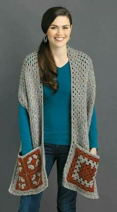 Featuring pockets and sometimes a hood, the designs in Pocket Shawls by Karen Whooley are true comfort fashions! They are great for staying cozy at home or when on the go and for keeping your cell phone and other small items handy. Each is sized for adult Crochet Shawls And Wraps, Crochet Poncho, Easy Crochet, Crochet Stitches, Crochet Patterns, Crochet Hats, Crochet Granny, Double Crochet, Crochet Scarves