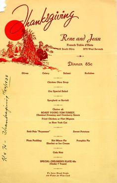 The Velvet Turtle-Sam's Cafe 1938 Thanksgiving Menu