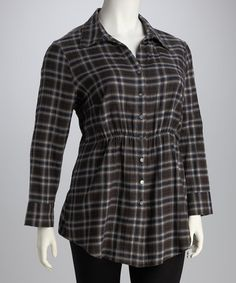 Take a look at this Brown & Blue Plaid Plus-Size Tunic by Live a Little: Plus-Size on #zulily today!