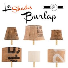 Burlap Lamp Shade - good texture, questionable about the text