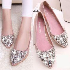 New Women Rhinestone Crystal Beaded Decoration Flat Heel Bottom pointy toe Shoes #unbranded #BalletFlats #Casual