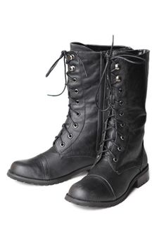 On the Base Military Lace Up Boots in Brown $40.00