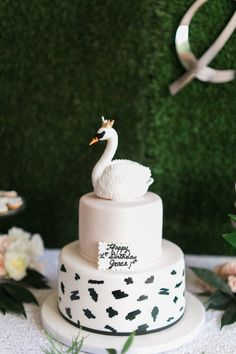 Swan Soiree First Birthday swan cake