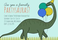 """""""Prehistoric Dinosaur Party"""" printable invitation. Customize, add text and photos. Print for free!"""