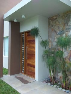 30 idéias com as quais a entrada da casa se torna fantástica - Schöne Türen laden zum Eintreten ein - Fachadas Main Door Design, House Front Design, Entrance Design, Modern House Design, Entrance Ideas, Minimalist House Design, Modern Houses, Modern Buildings, Modern Entrance Door