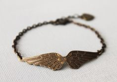 Angel Wing Bracelet.  brass ox Vicrorian angel wing. Holiday Jewelry, via Etsy.