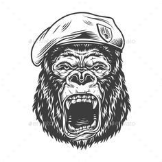 Buy Angry Gorilla in Monochrome Style by imogi on GraphicRiver. Angry gorilla in monochrome style in beret. Graphic Design Company, Graphic Design Services, Graphic Design Studios, Gorilla Tattoo, Unique Poster, Monochrome Fashion, Vector Graphics, Vector Design, Tattoo Drawings