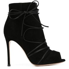 Gianvito Rossi Laced-Up and Crossed Suede Ankle Boots ($635) ❤ liked on Polyvore featuring shoes, boots, ankle booties, heels, booties, chaussures, black, peep toe booties, black suede boots and lace up heel booties