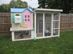 Now this I could do!  Chicken coop out of FREE playskool playhouse.... hmmmm......